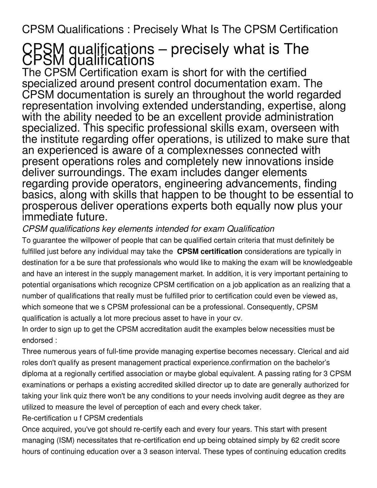 Calamo Cpsm Qualifications Precisely What Is The Cpsm
