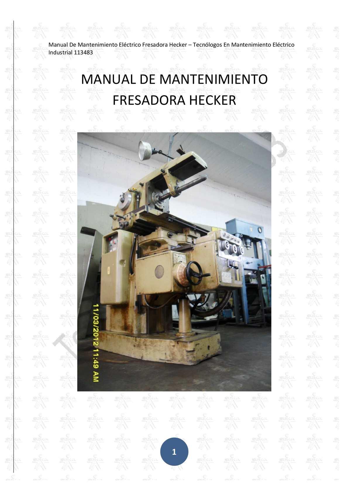 Manual De Mantenimiento Electrico Fresadora Hecker