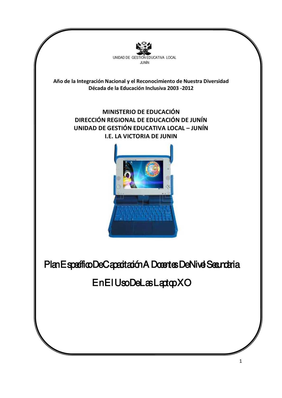 PLAN ESPECIFICO DE CAPACITACION XO - SECUNDARIA