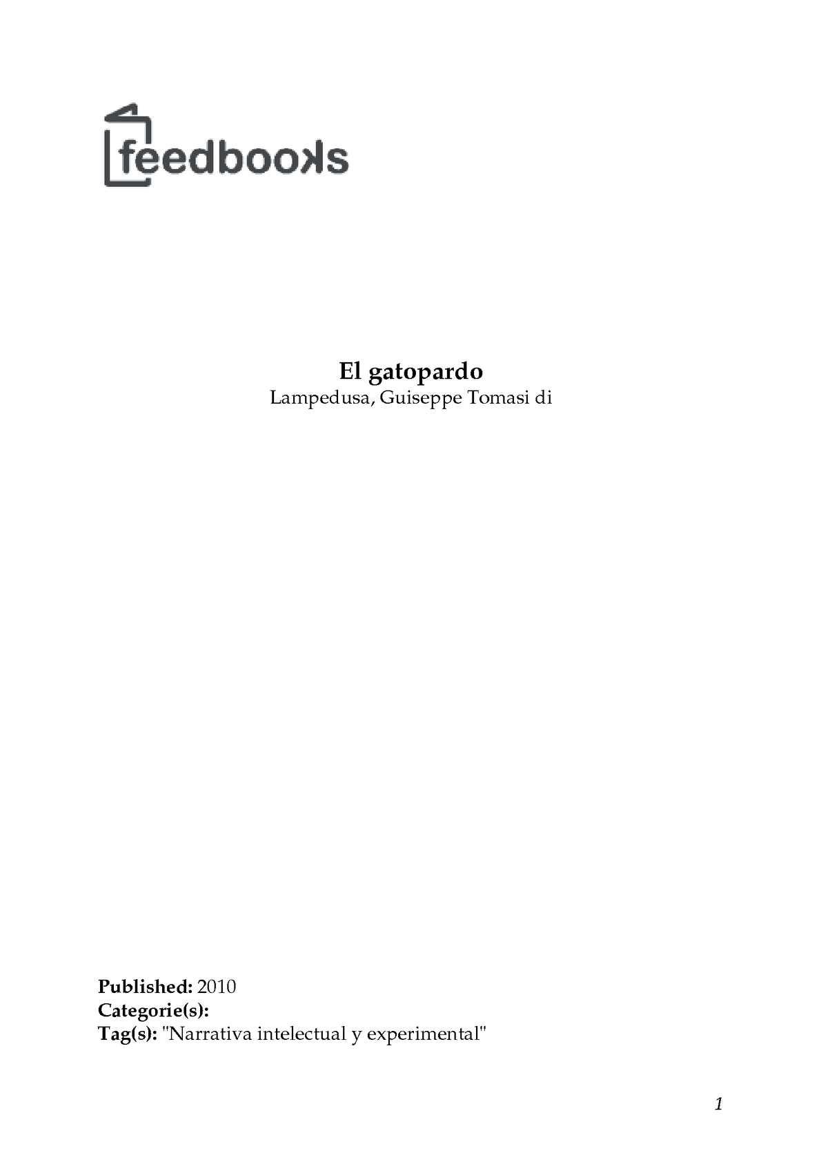 Calaméo - Lampedusa, Guiseppe Tomasi di - El gatopardo