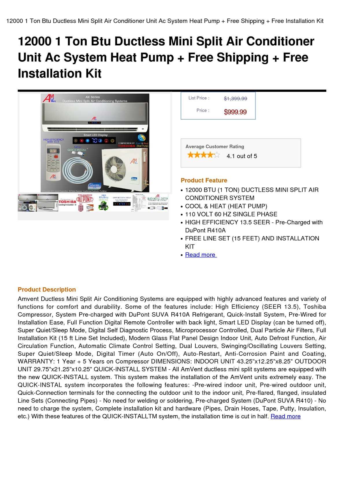 Calamo 12000 1 Ton Btu Ductless Mini Split Air Conditioner Unit Con Wiring Diagram Ac System Heat Pump Free Shipping Installation Kit