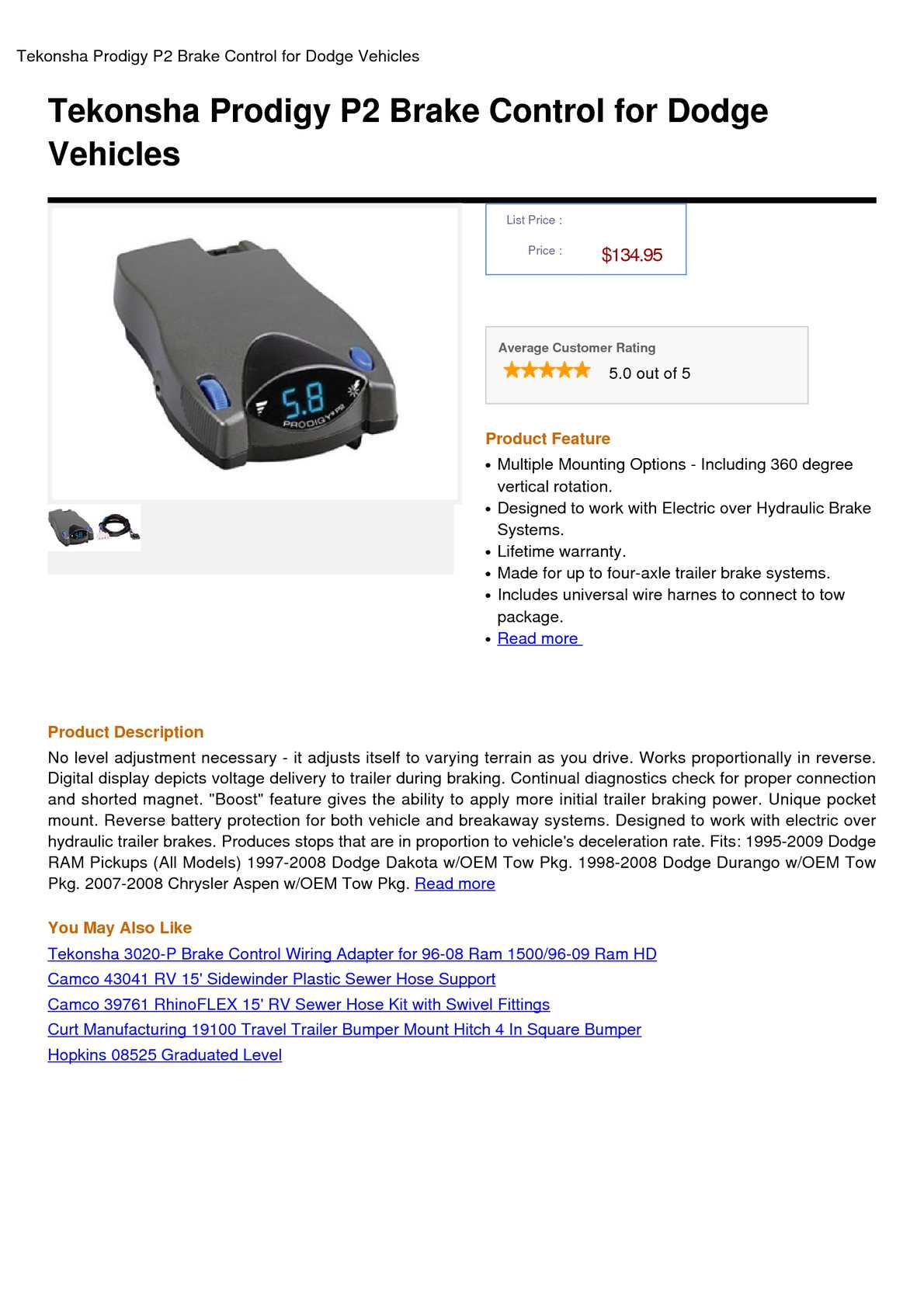 Calamo Tekonsha Prodigy P2 Brake Control For Dodge Vehicles Trailer Mounted Electronic Controller Wiring