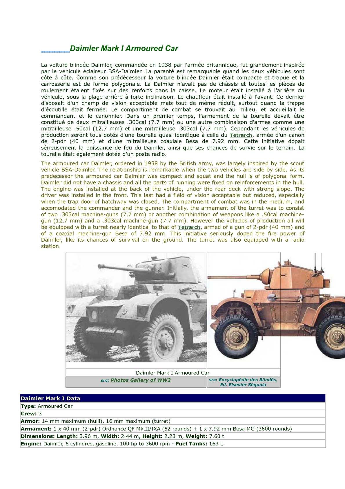 Daimler Mark I Armoured Car