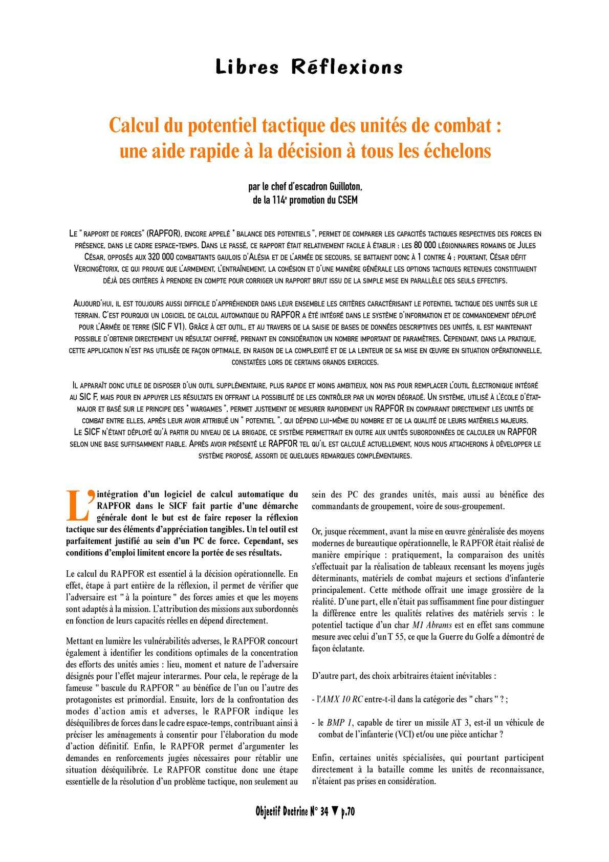 CALCUL DU POTENTIEL TACTIQUE DES UNITES DE COMBAT