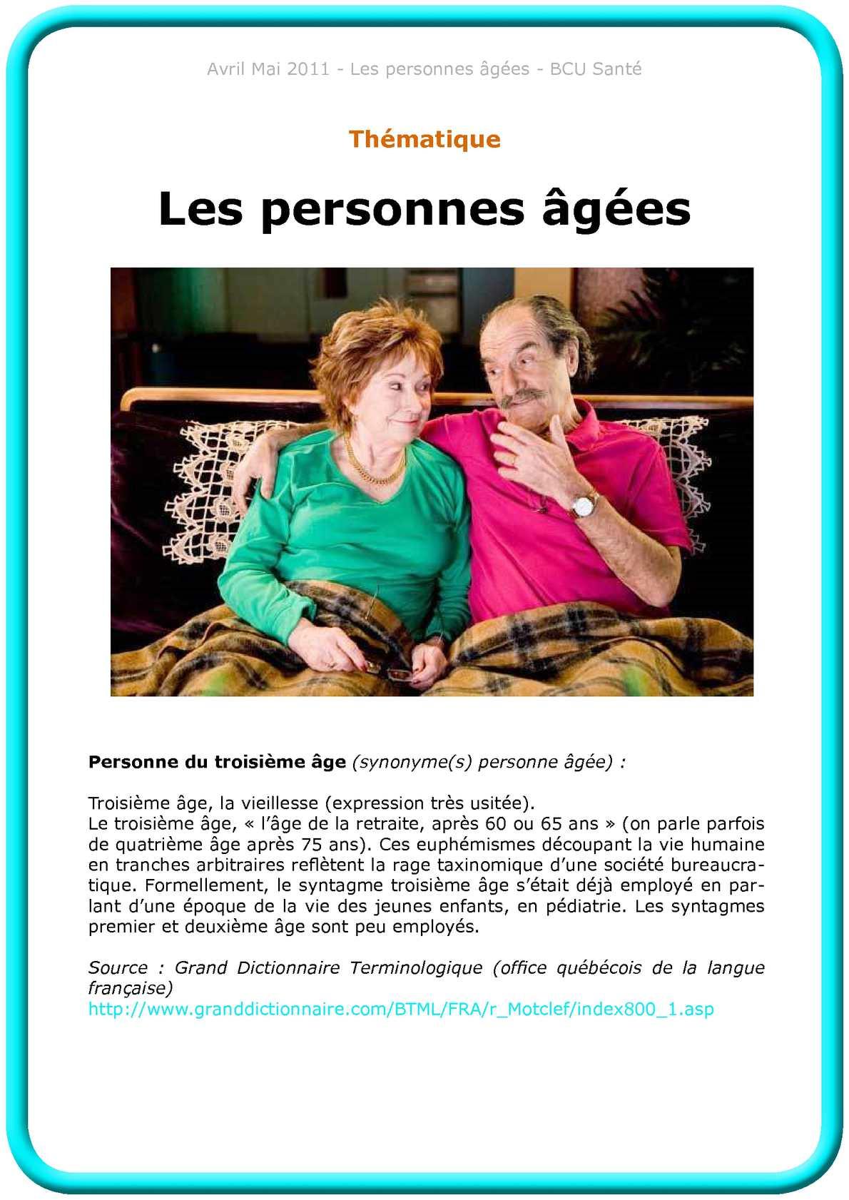 Calam o les personnes g es - Office de la langue francaise dictionnaire ...