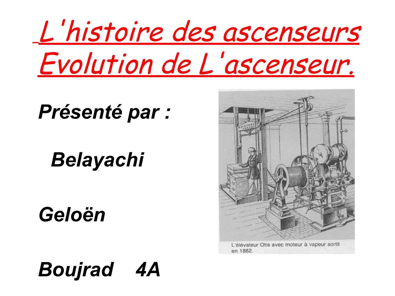 Calam o l 39 ascenseur for Evolution de la chaise