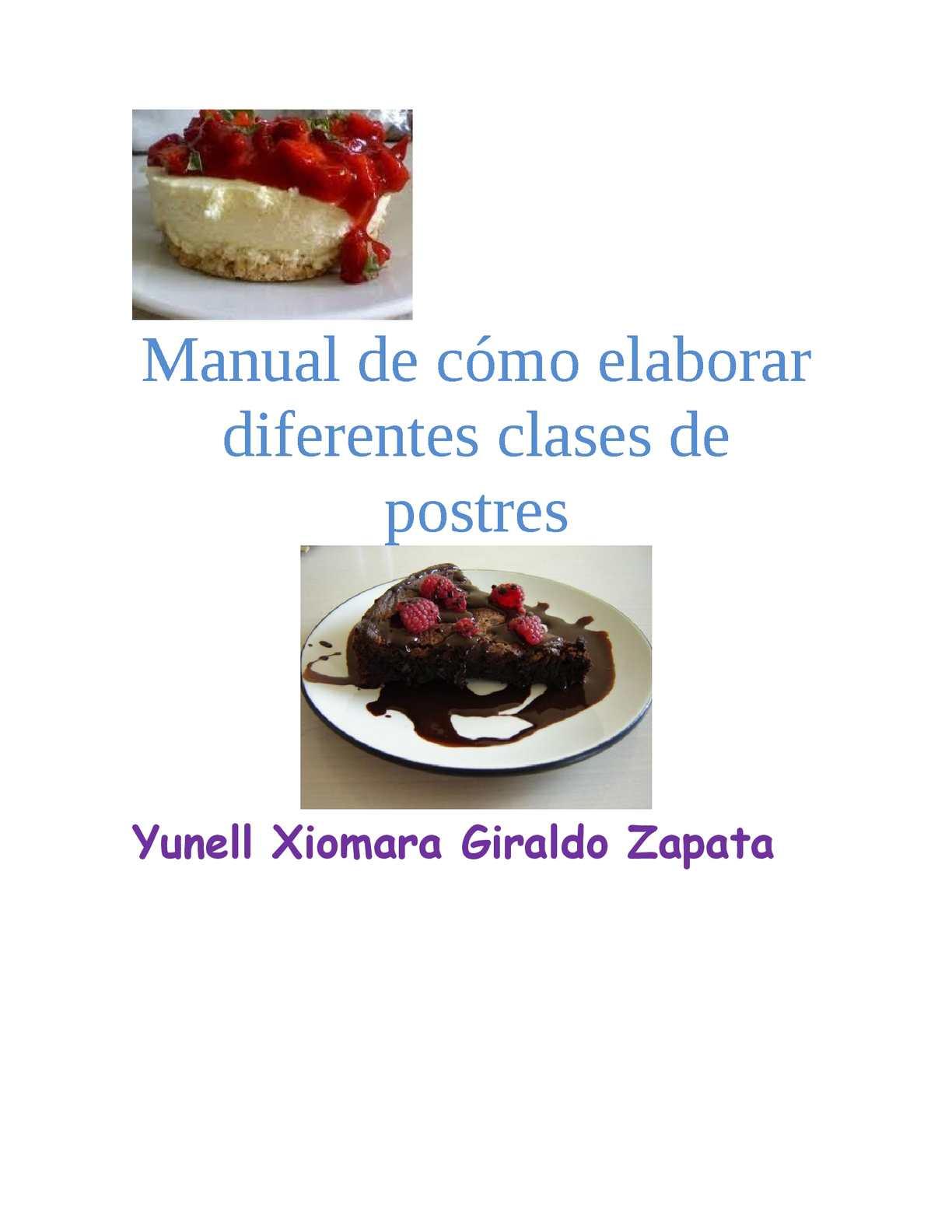 manual de como elaborar diferentes clases de postres