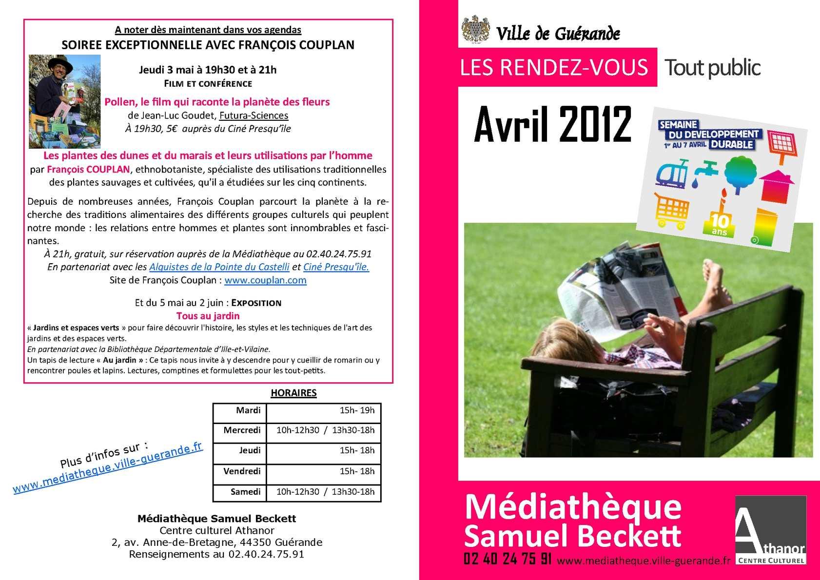 Calam o animations d 39 avril la m diath que samuel beckett for Piscine guerande horaires