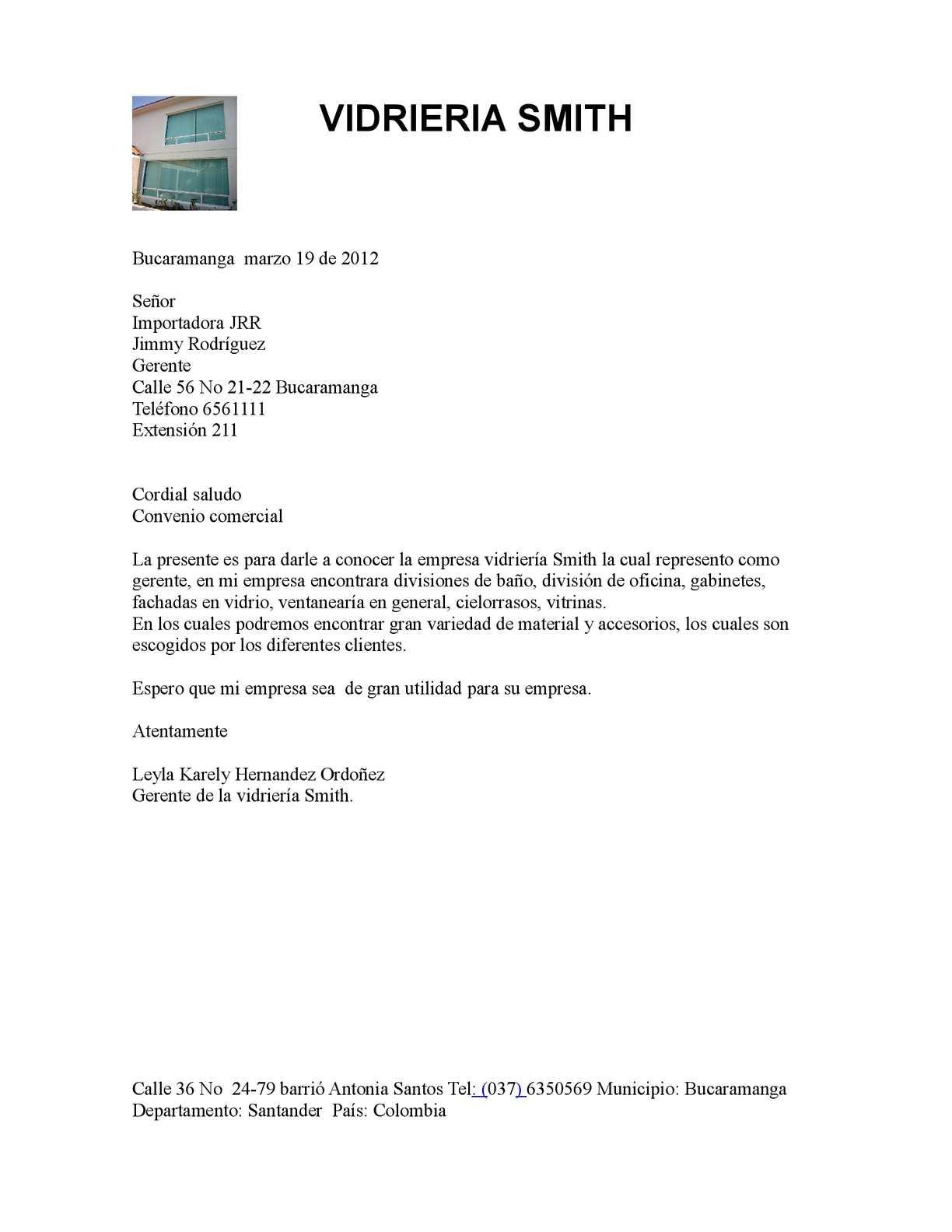 Calam o carta comercial de mi empresa for Empresas de material de oficina