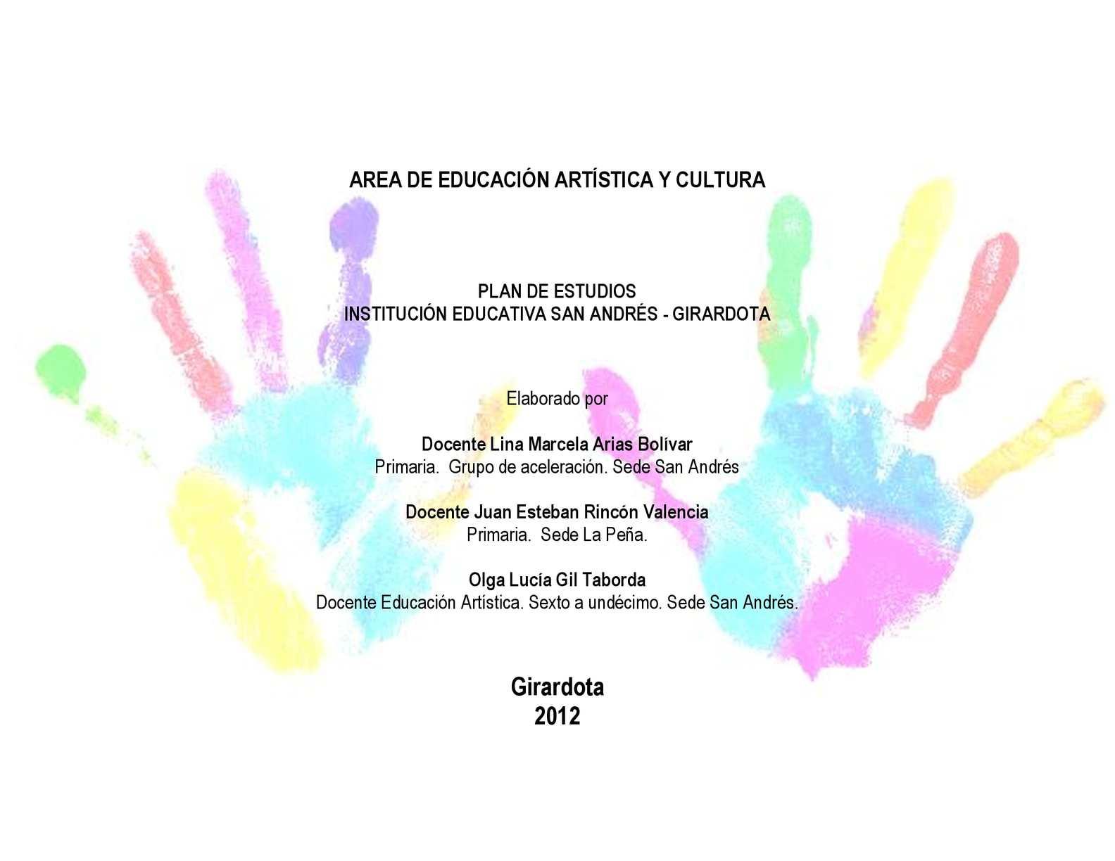 MALLA CURRICULAR EDUCACION ARTISTICA Y CULTURA