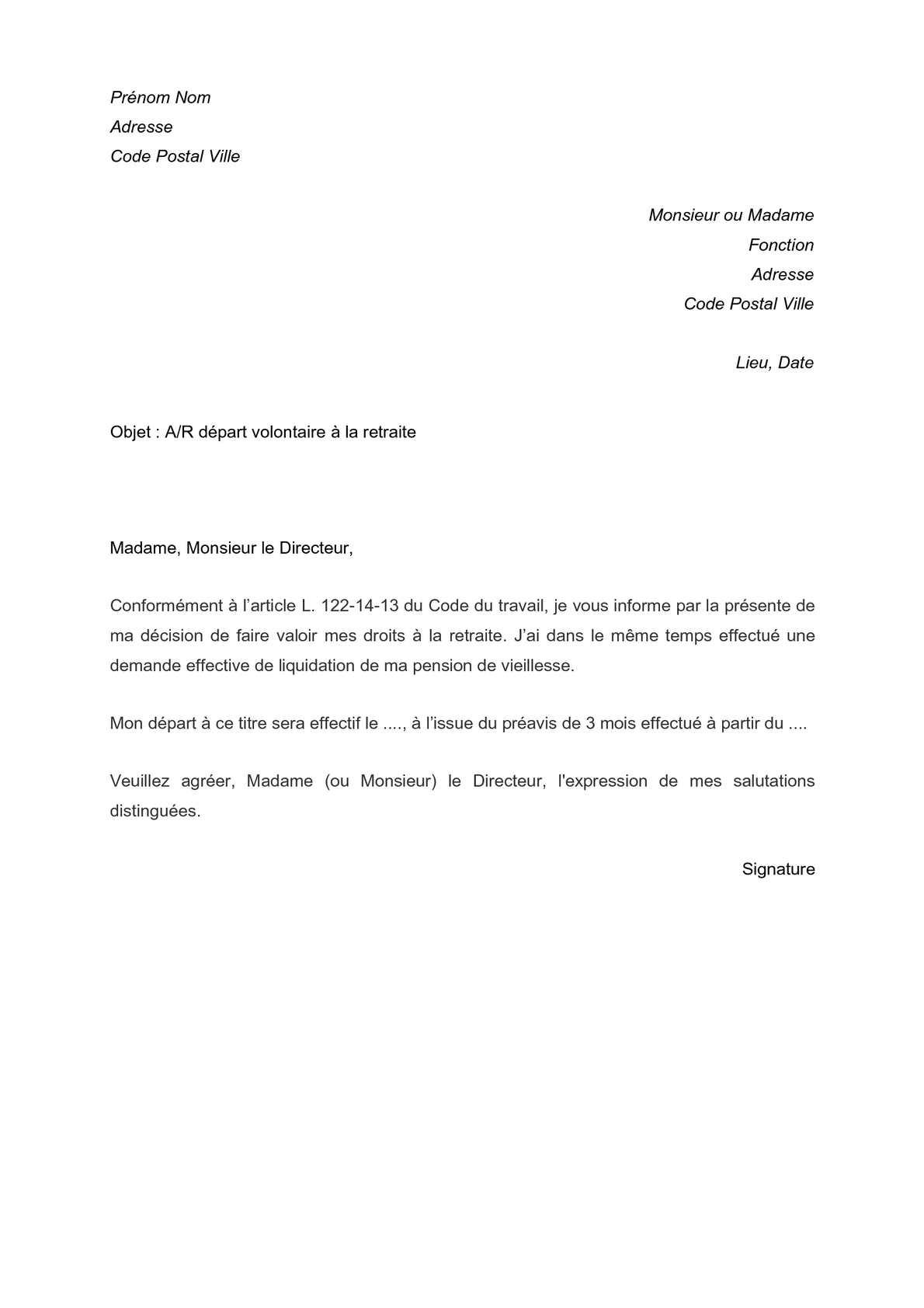 Calameo Lettre Type De Depart Volontaire A La Retraite