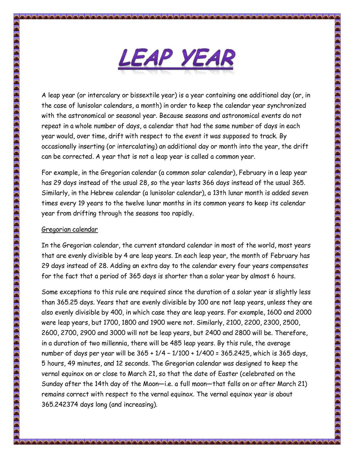 Julian Leap Year Calendar : Calaméo u003eleap yearu003c