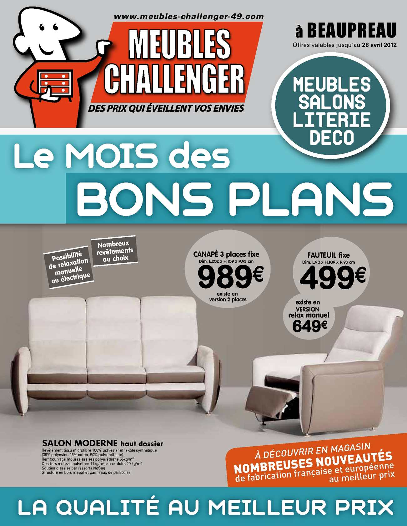 calam o catalogue meubles challenger beaupreau mars avril 2012. Black Bedroom Furniture Sets. Home Design Ideas