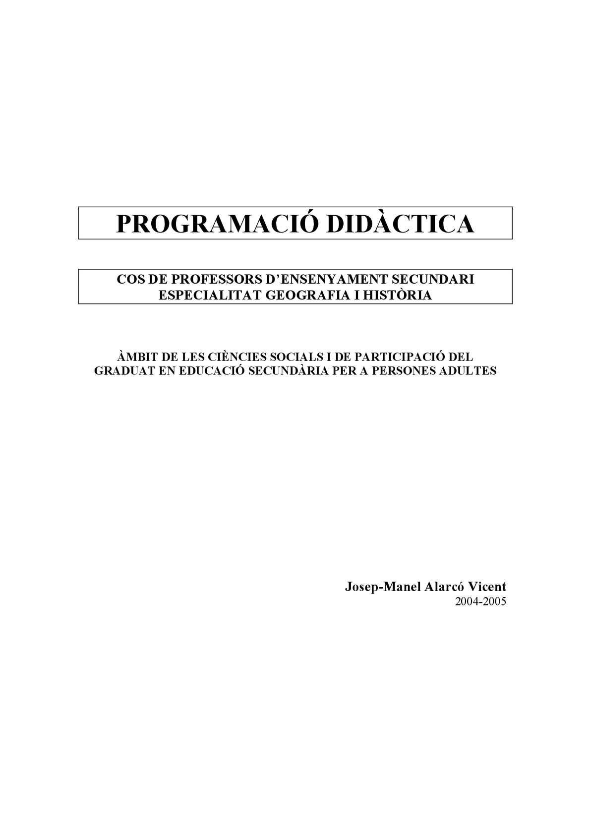 PROGRAMACIÓ DIDÀCTICA OPOSICIONS GEOGRAFIA I HISTÒRIA