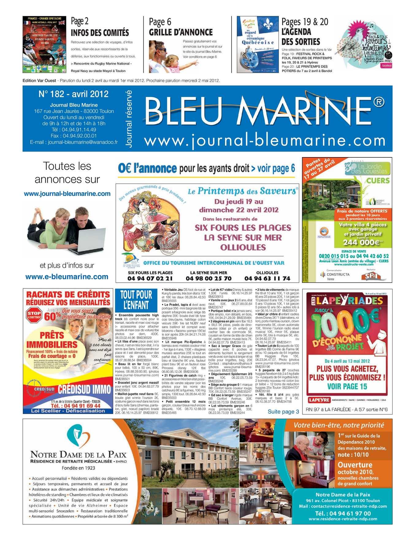 2012 N°182 Marine Bleu Journal Calaméo Avril DE92IWH