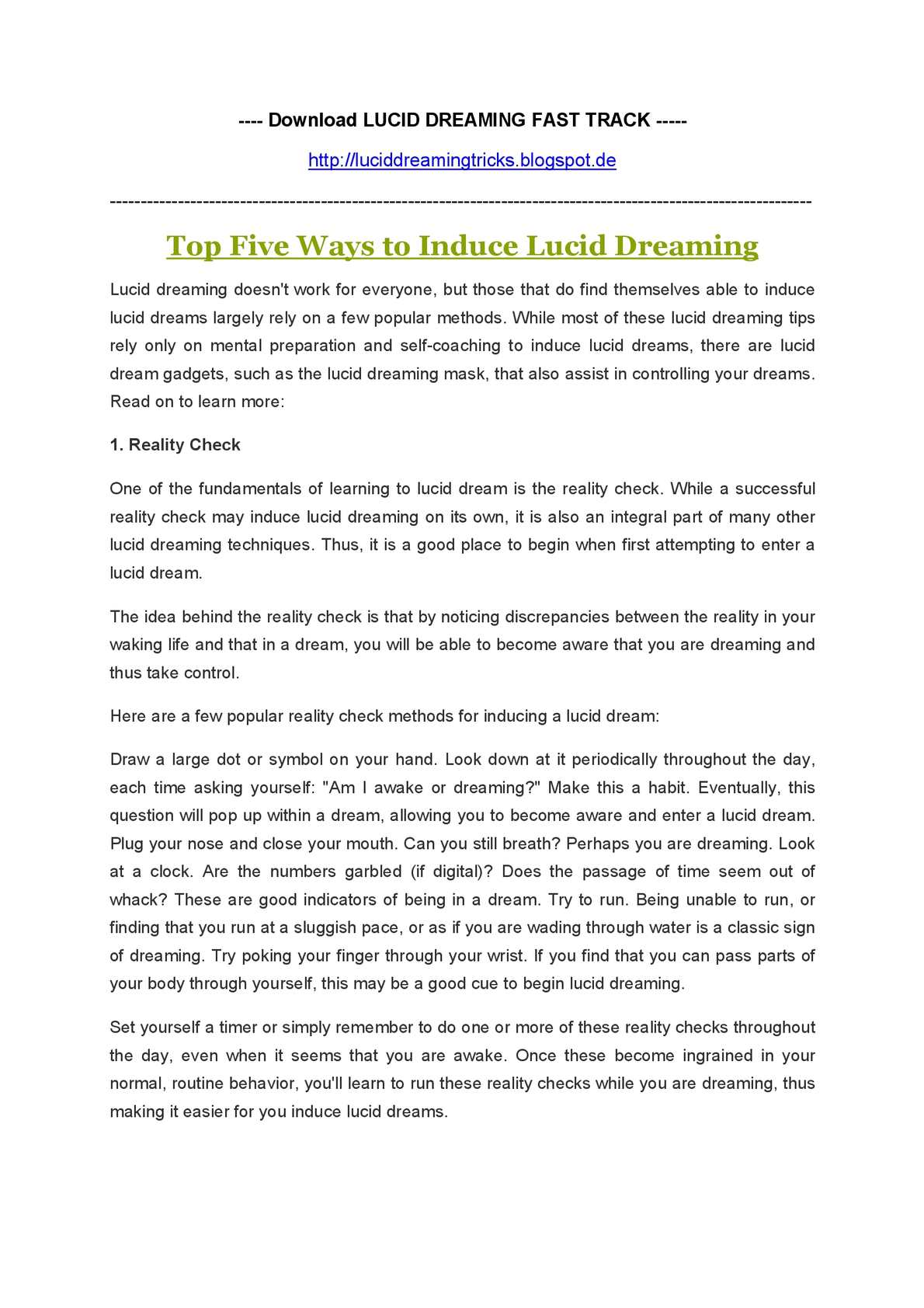 ways to lucid dream