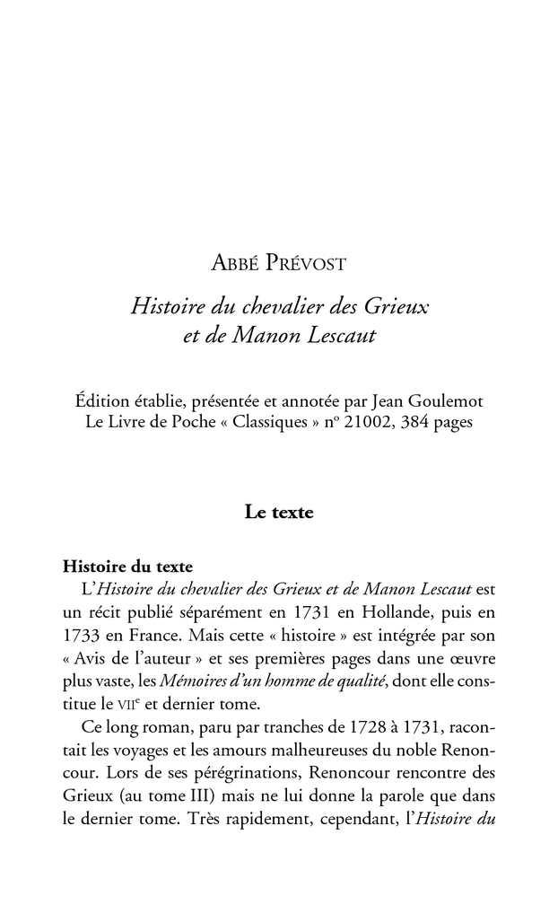 Manon Lescaut R sum de la premi re partie