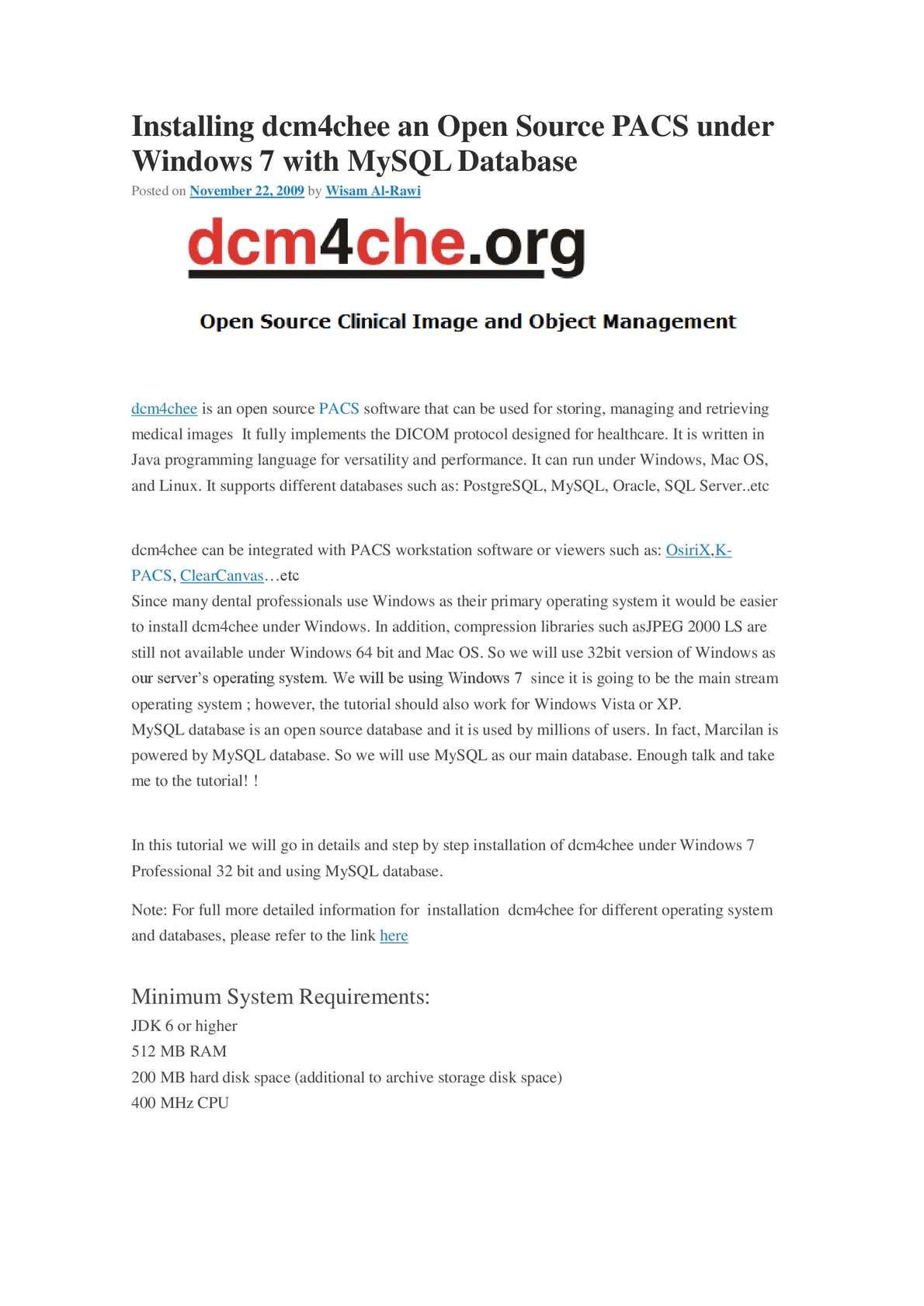 Calamo instalacion de dcm4chee en windows 7 baditri Choice Image
