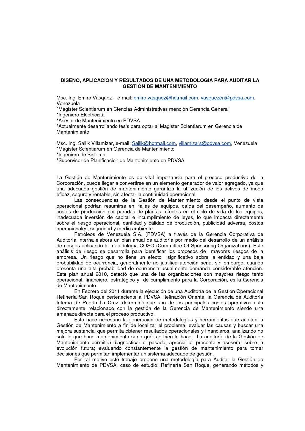 Calaméo - METODOLOGIA PARA AUDITAR LA GESTION DE MANTENIMIENTO