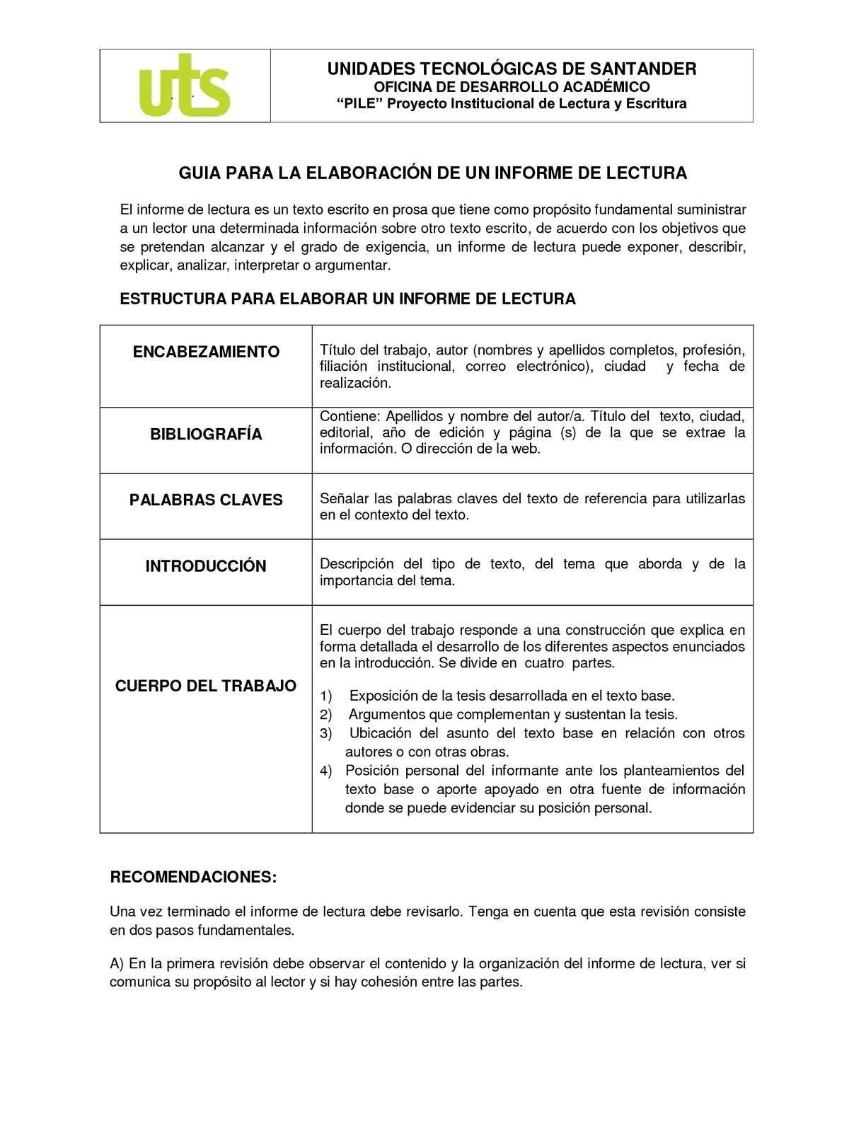 GUIA PARA LA ELABORACIÓN DE UN INFORME DE LECTURA