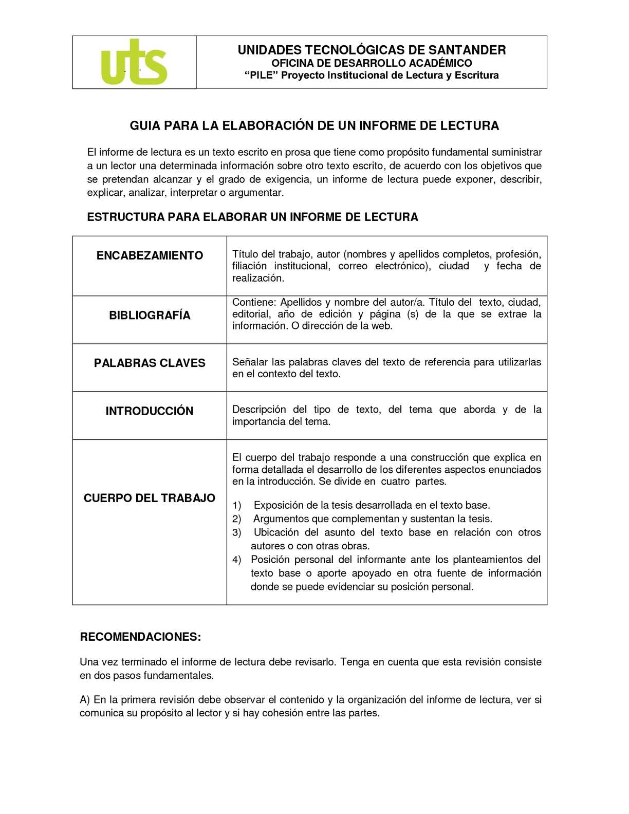 Calaméo - GUIA PARA LA ELABORACIÓN DE UN INFORME DE LECTURA