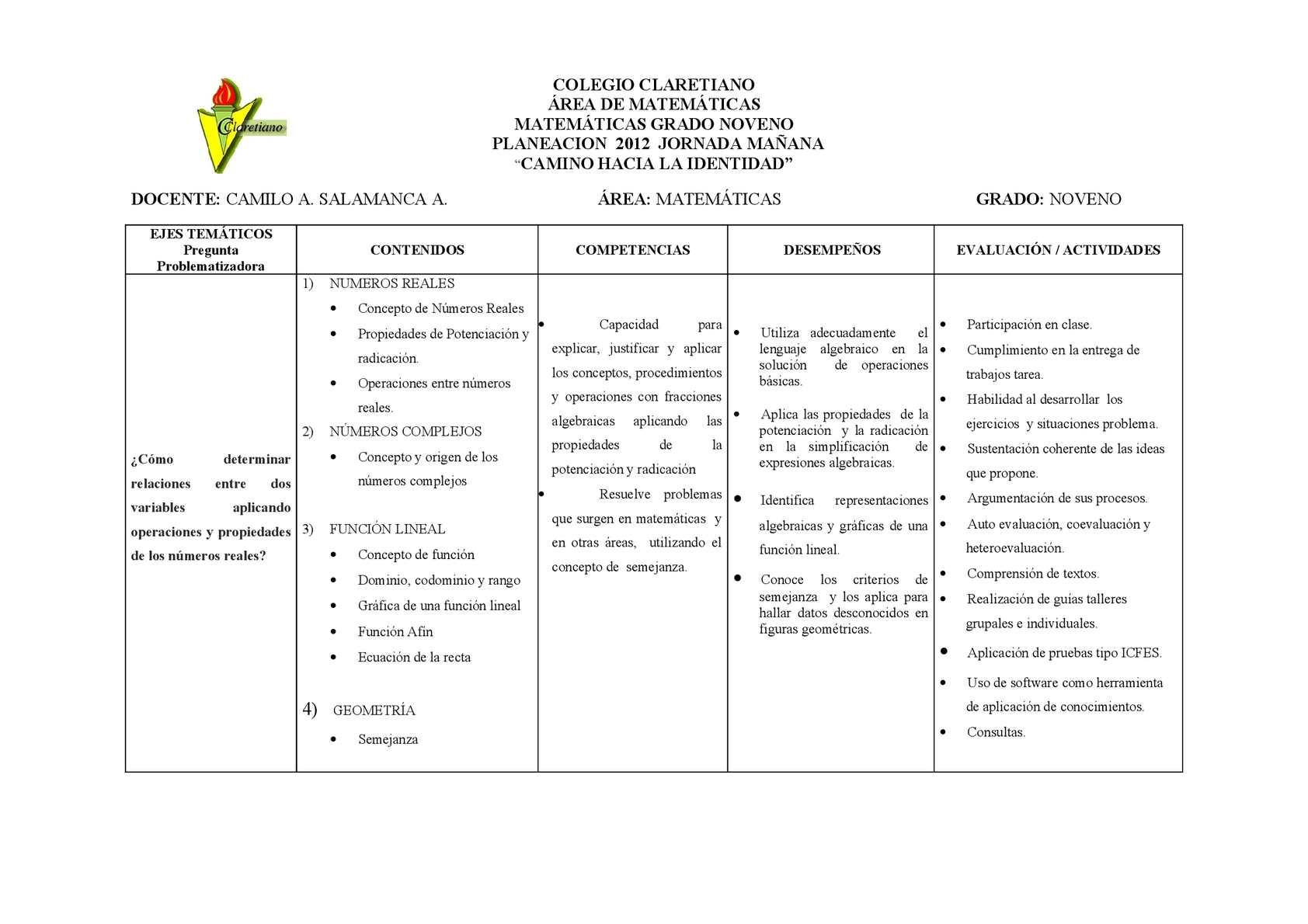 Calaméo - Plan de Aula Noveno 2012
