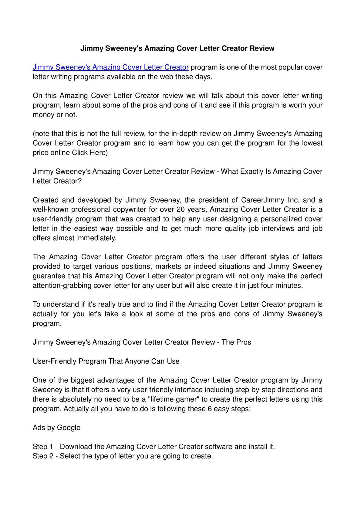 calamo jimmy sweeneys amazing cover letter creator review. Resume Example. Resume CV Cover Letter