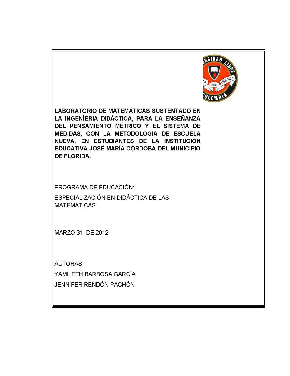 Calaméo - TESIS: LABORATORIO DE MATEMÁTICAS