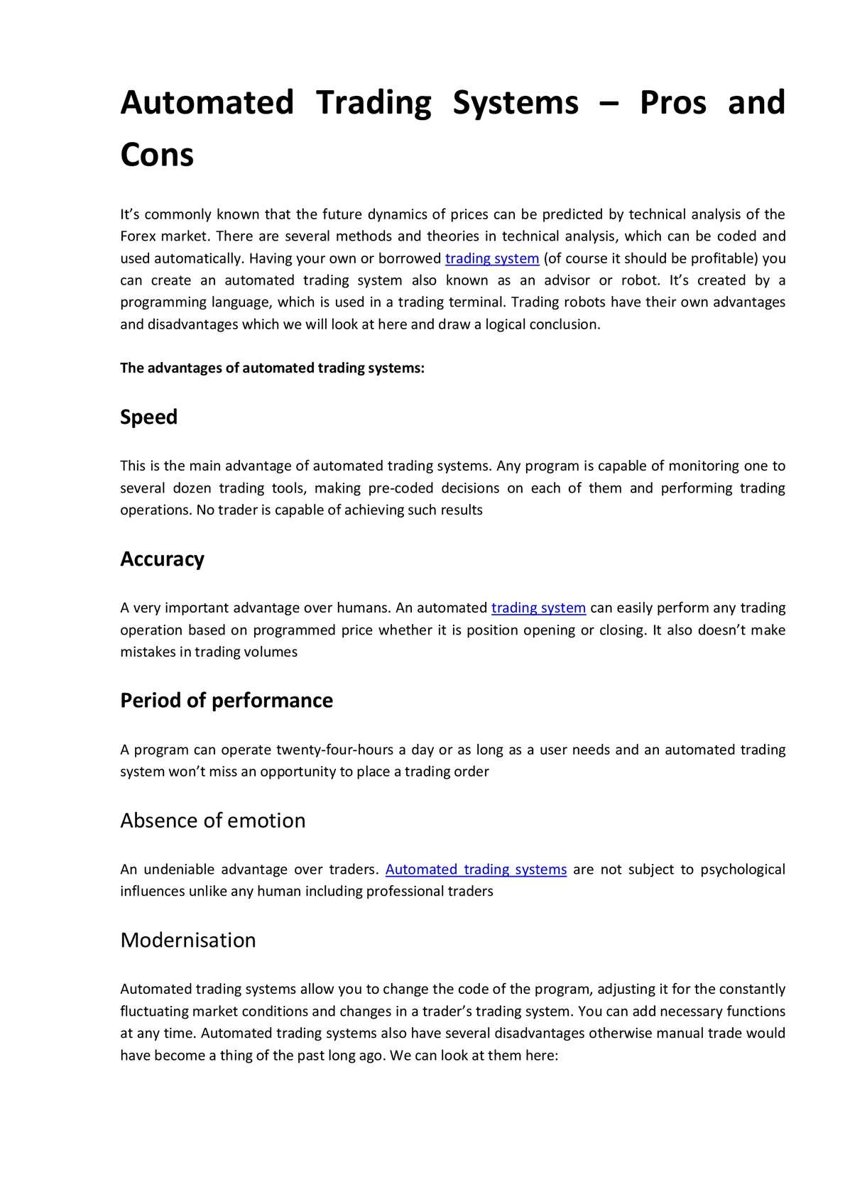 advantages and disadvantages of modernisation