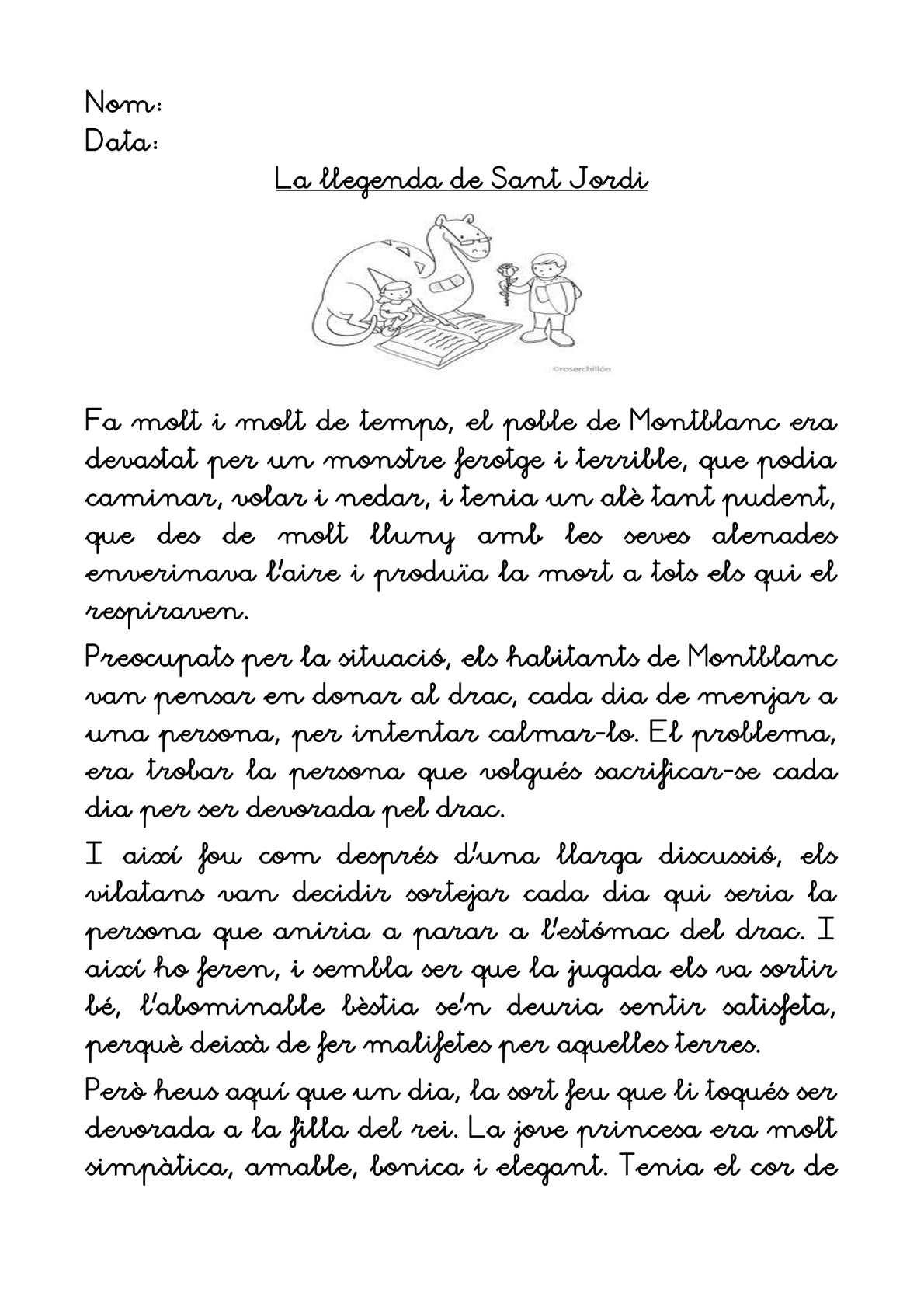 COMPRENSIÓ LLEGENDA ST.JORDI