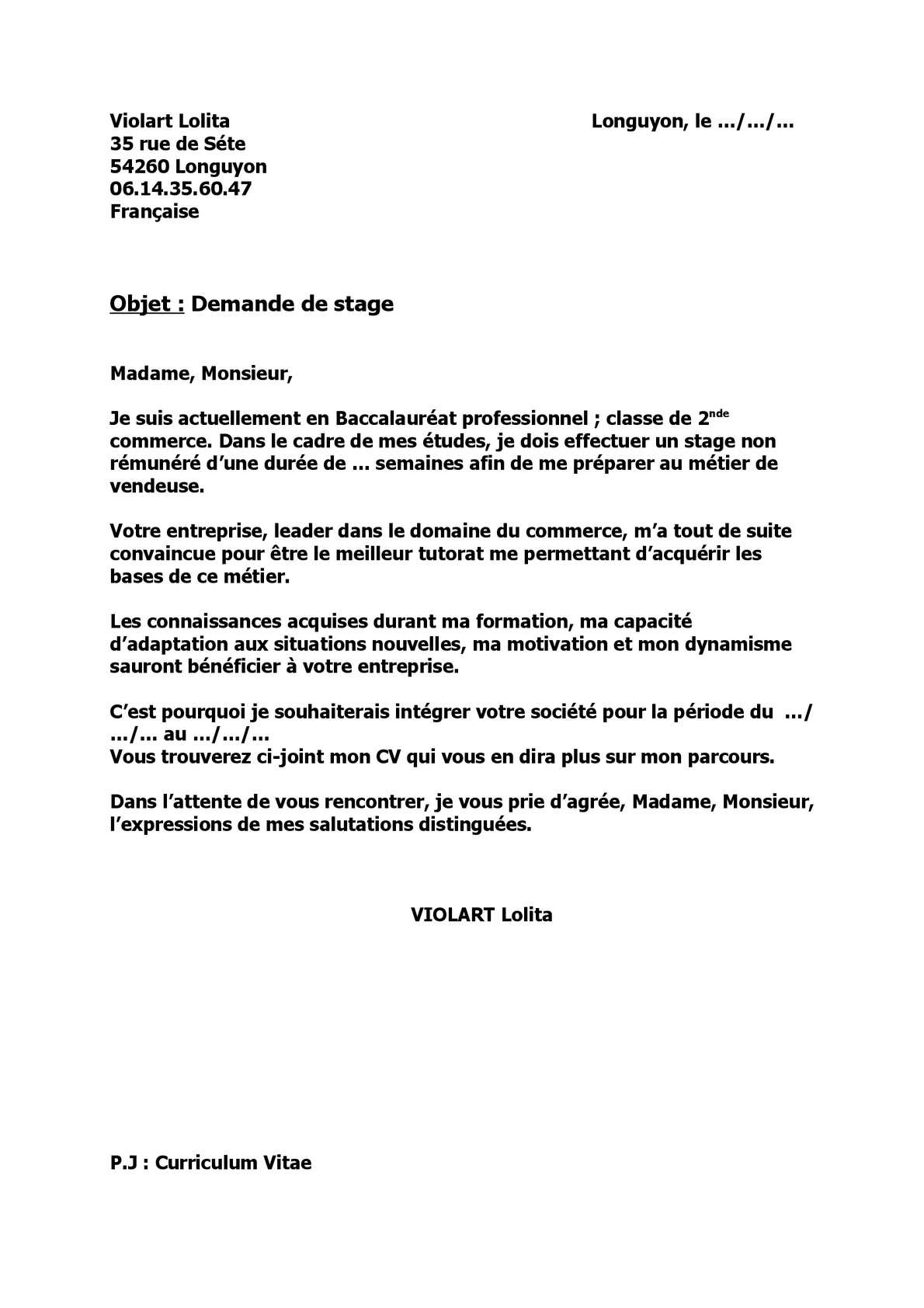 ebook  lettre de motivation stage commerce bac pro