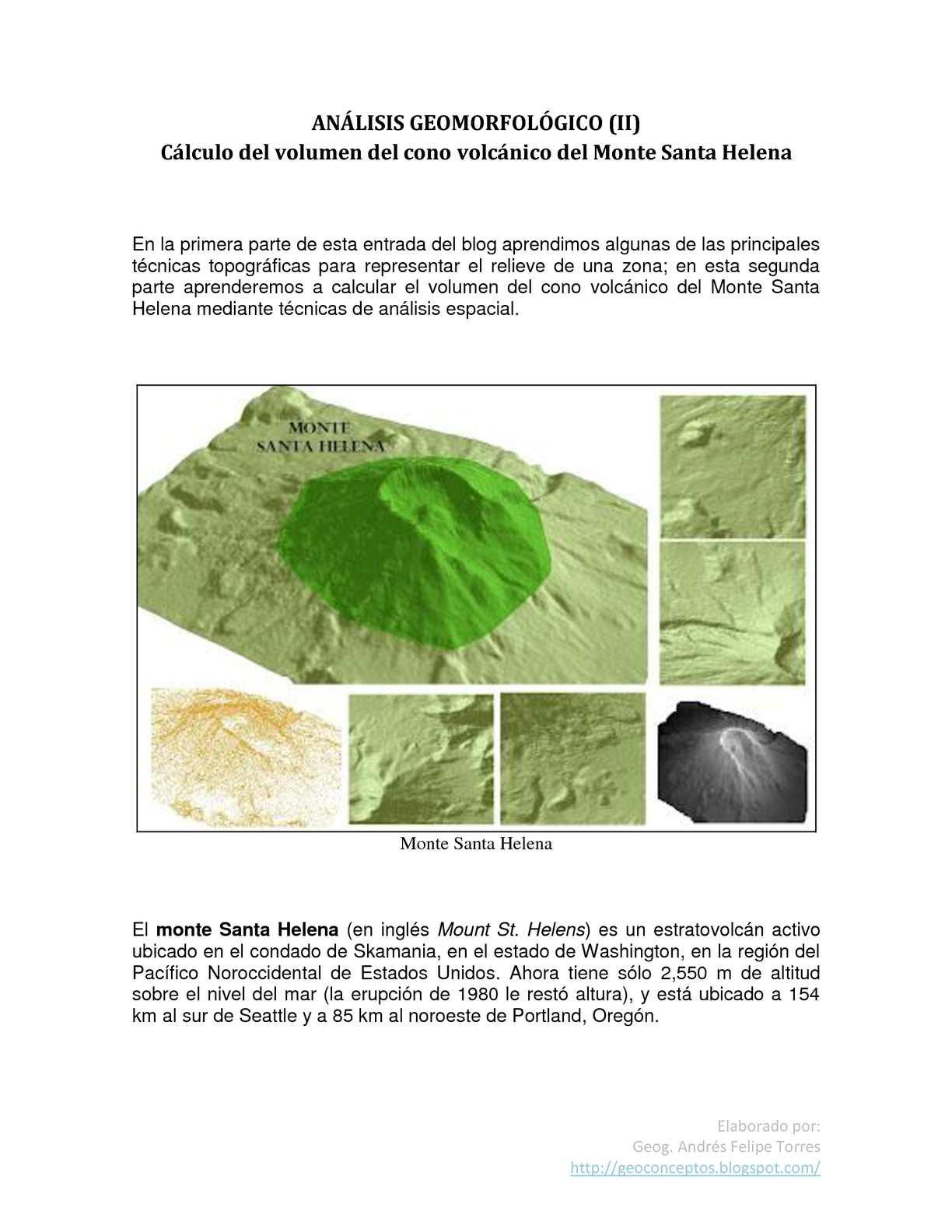 ANÁLISIS GEOMORFOLÓGICO II Cálculo del volumen del cono volcánico del Monte Santa Helena