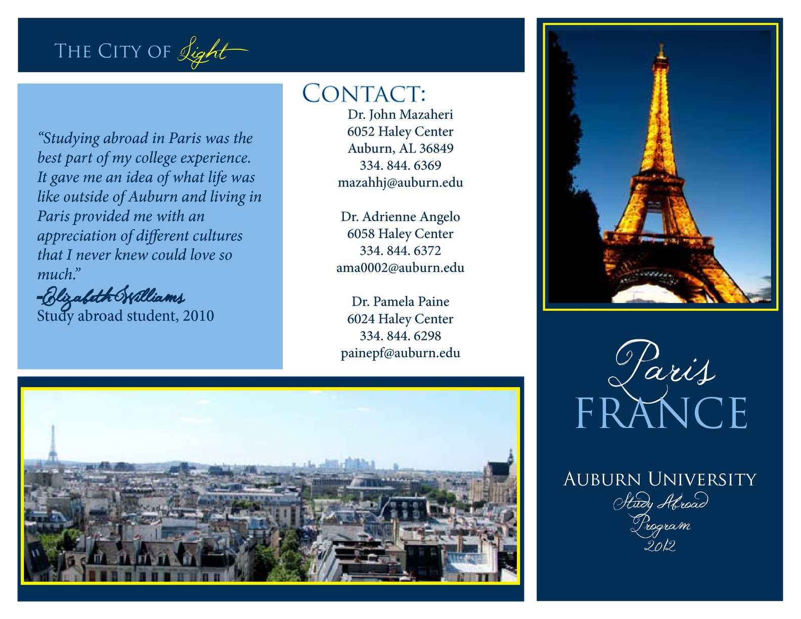 Calam 233 O Brochure Study Abroad In Paris