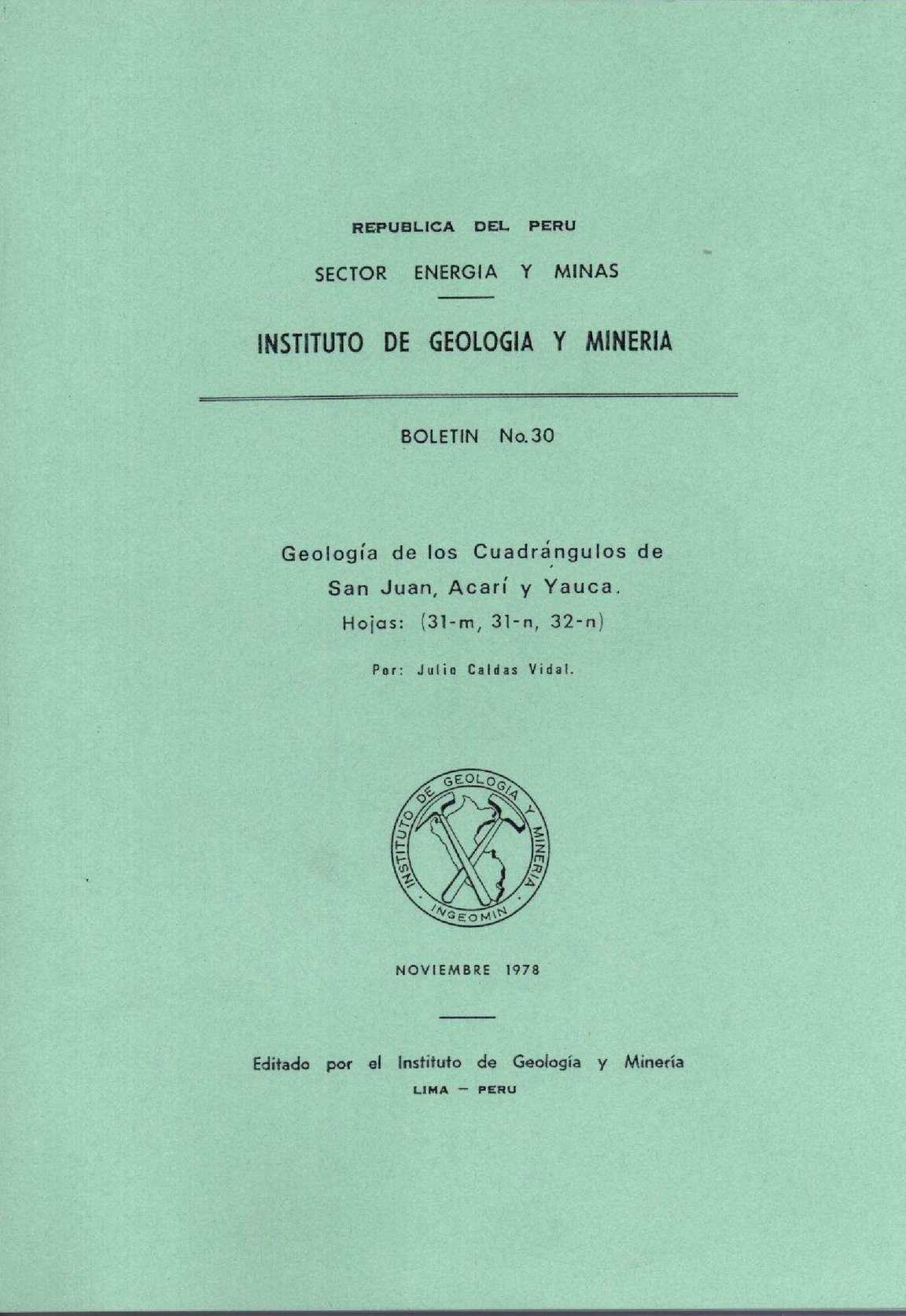 Calaméo - Geología - Cuadrangulo de San Juan (31m), Acarí (31n) y ...