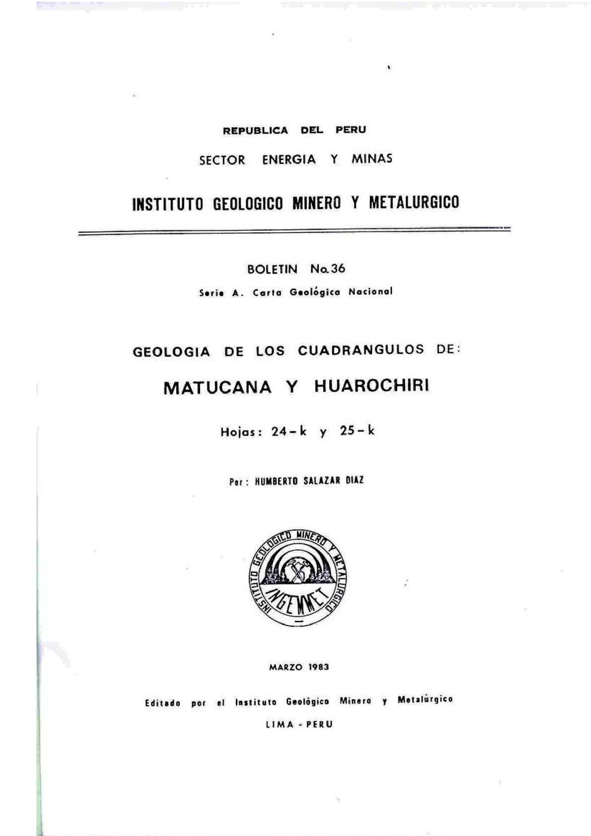 Calaméo - Geología - Cuadrangulo de Matucana (24k) y Huarochirí (25k ...