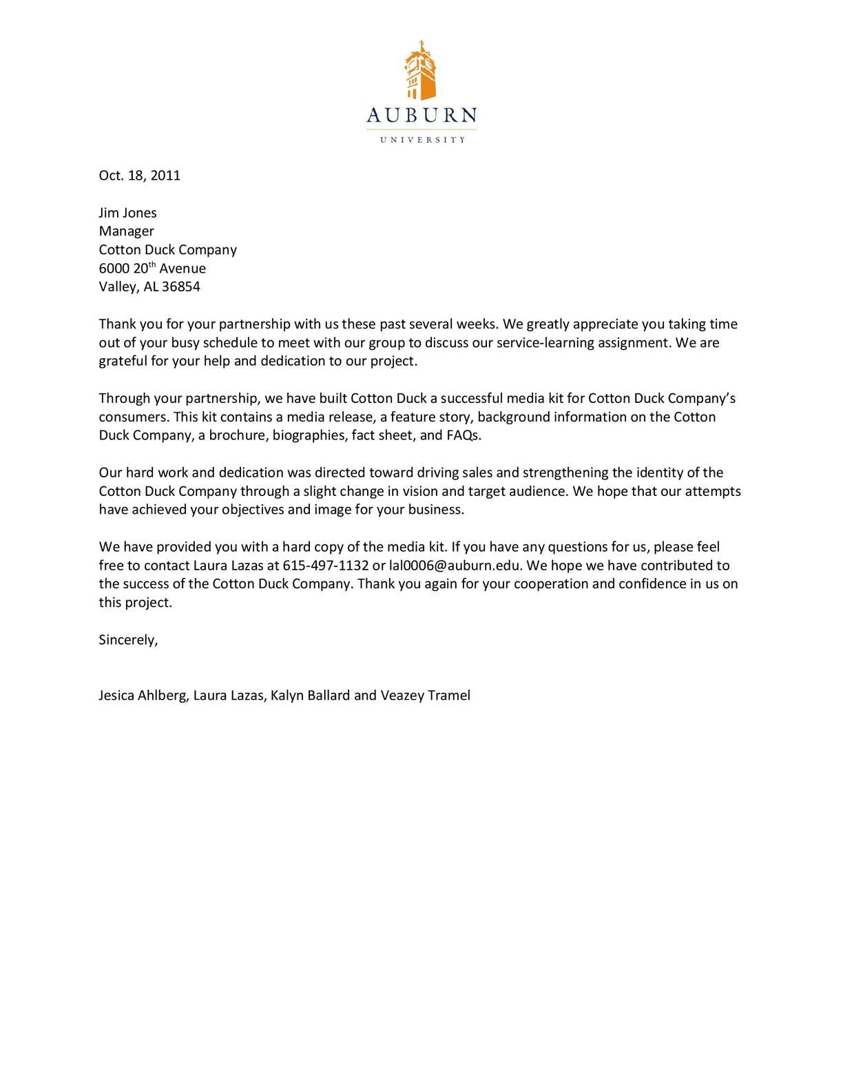 Calamo Thank You Letter