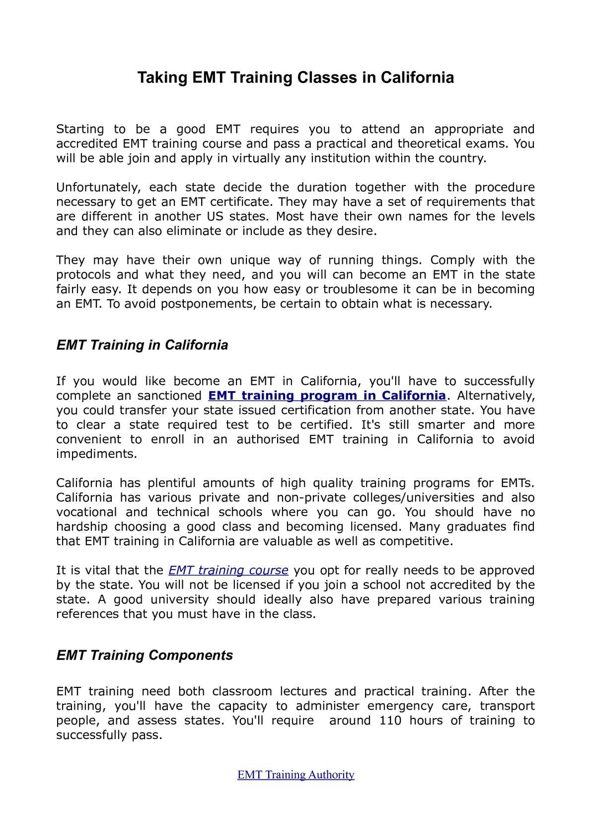 Calamo Ems And Emt In Training In California