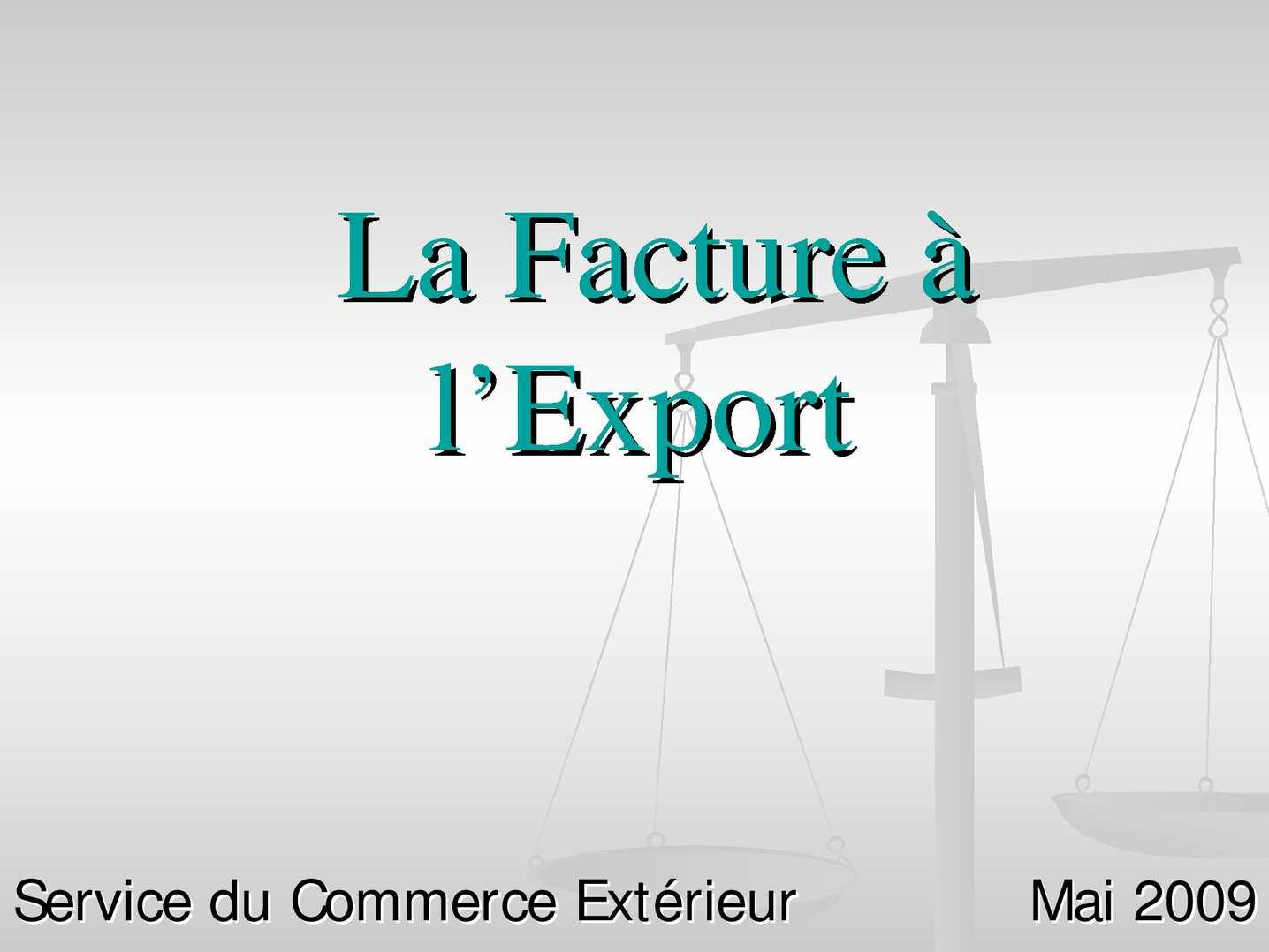 modele facture a l u0026 39 export