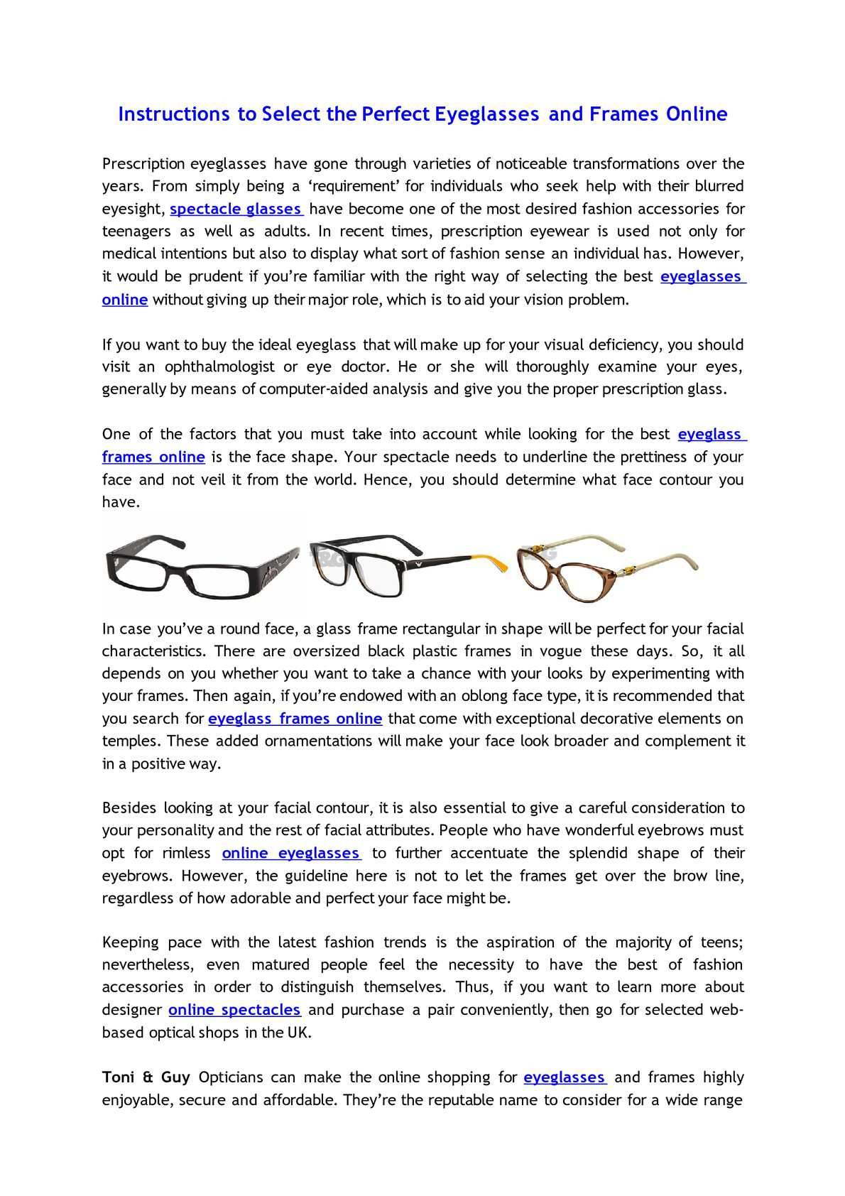 Calaméo - Instructions to Select the Perfect Eyeglasses and Frames ...