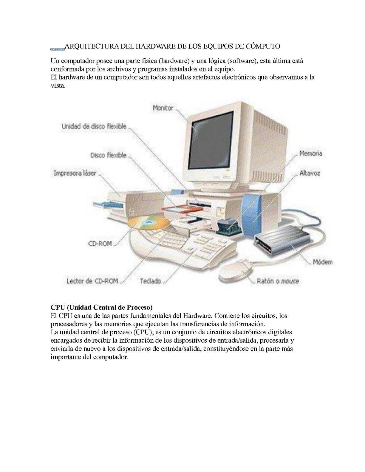 Calam o arquitectura del hardware de los equipos de c mputo for Arquitectura hardware