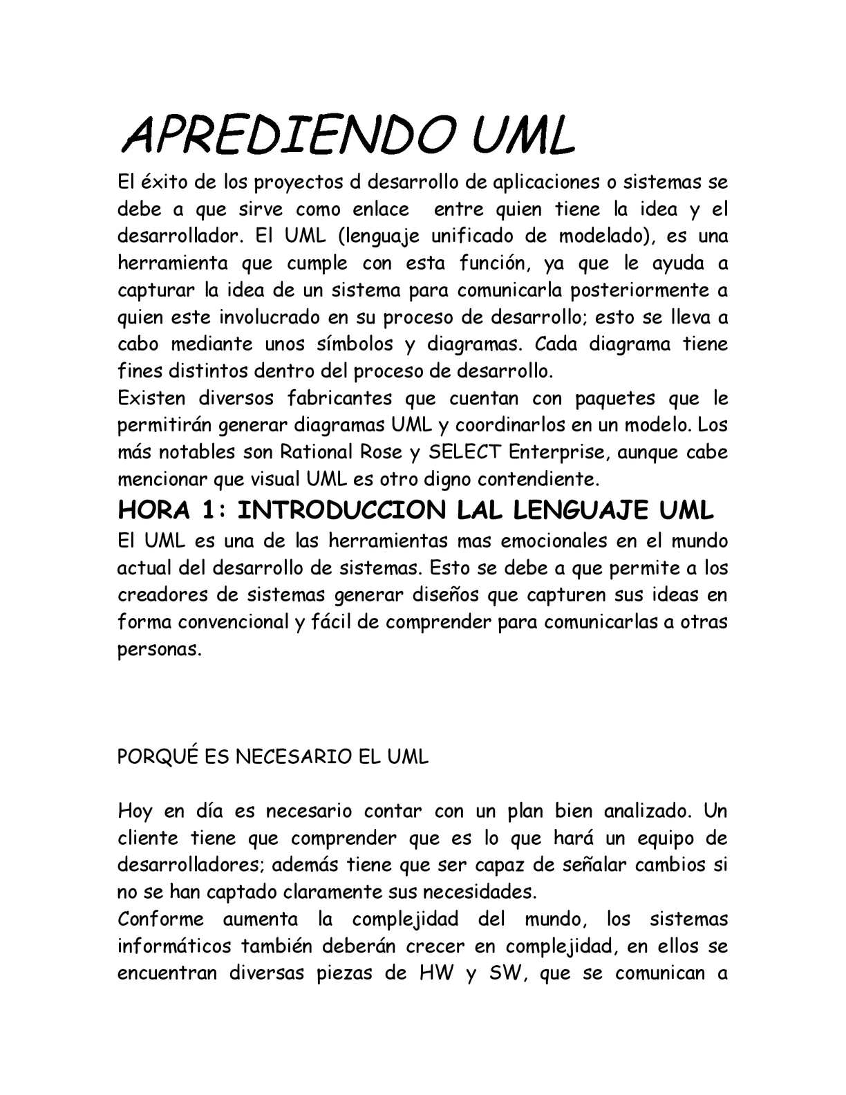 APRENDIENDO UML DE MANERA FACIL Y RAPIDA