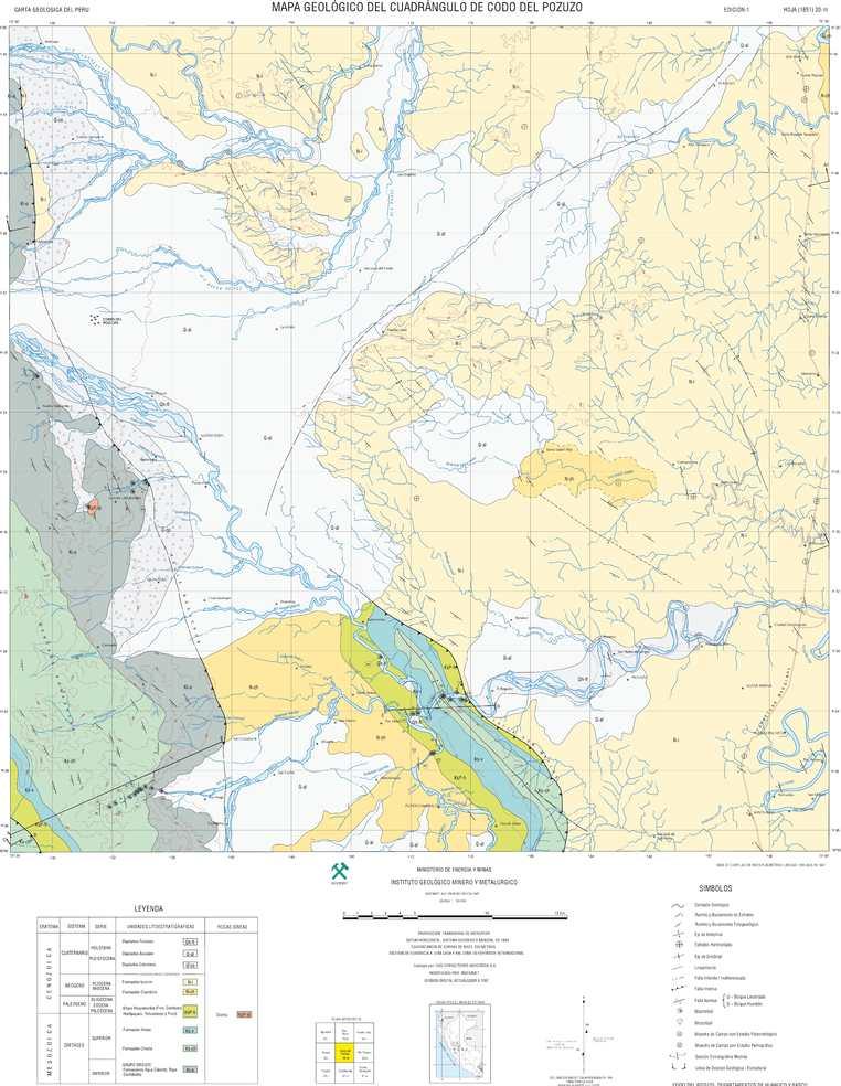 Mapa Geológico del Cuadrángulo Codo del Pozuzo (20-m)