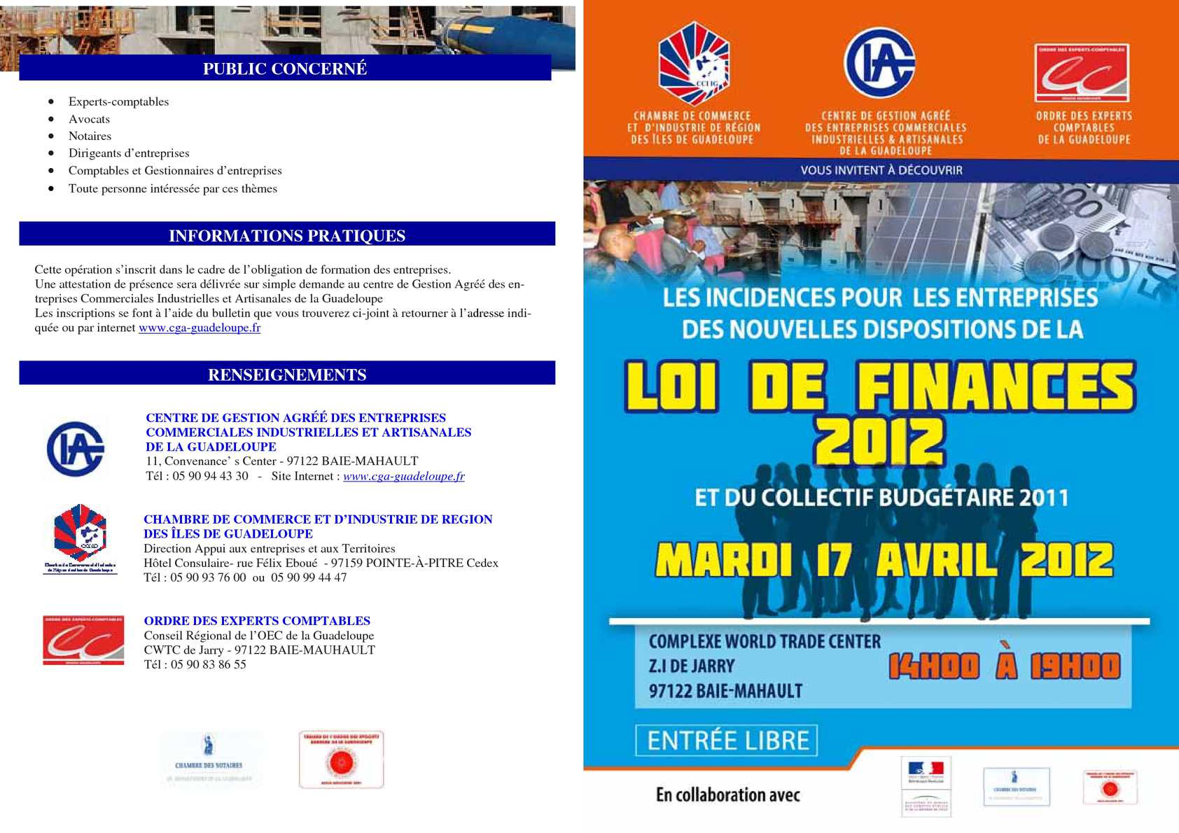 Calam o loi de finances 2012 synth se conf rence cga for Chambre de commerce guadeloupe