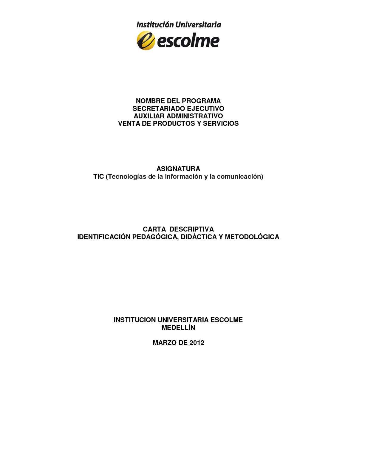 Carta Descriptiva TICS