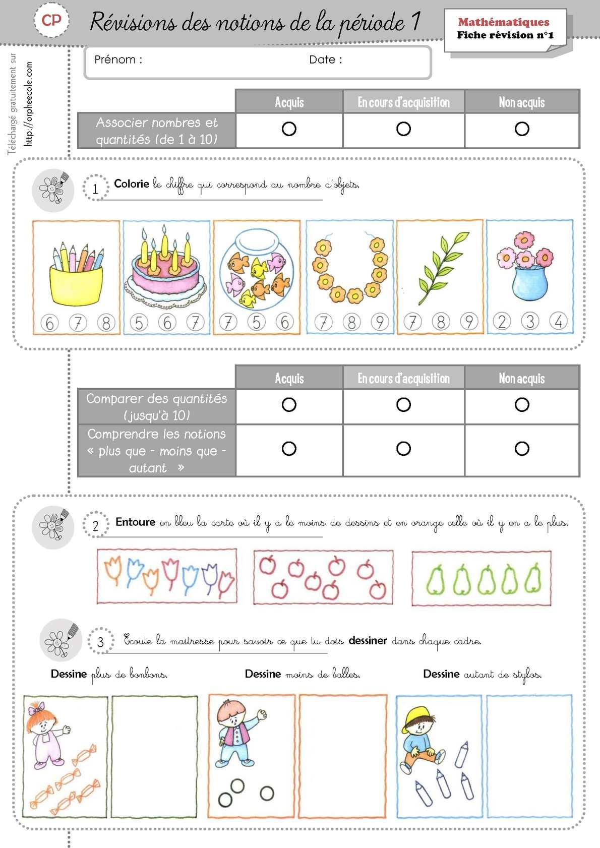 Calaméo - Révisions Math - Première période - CP