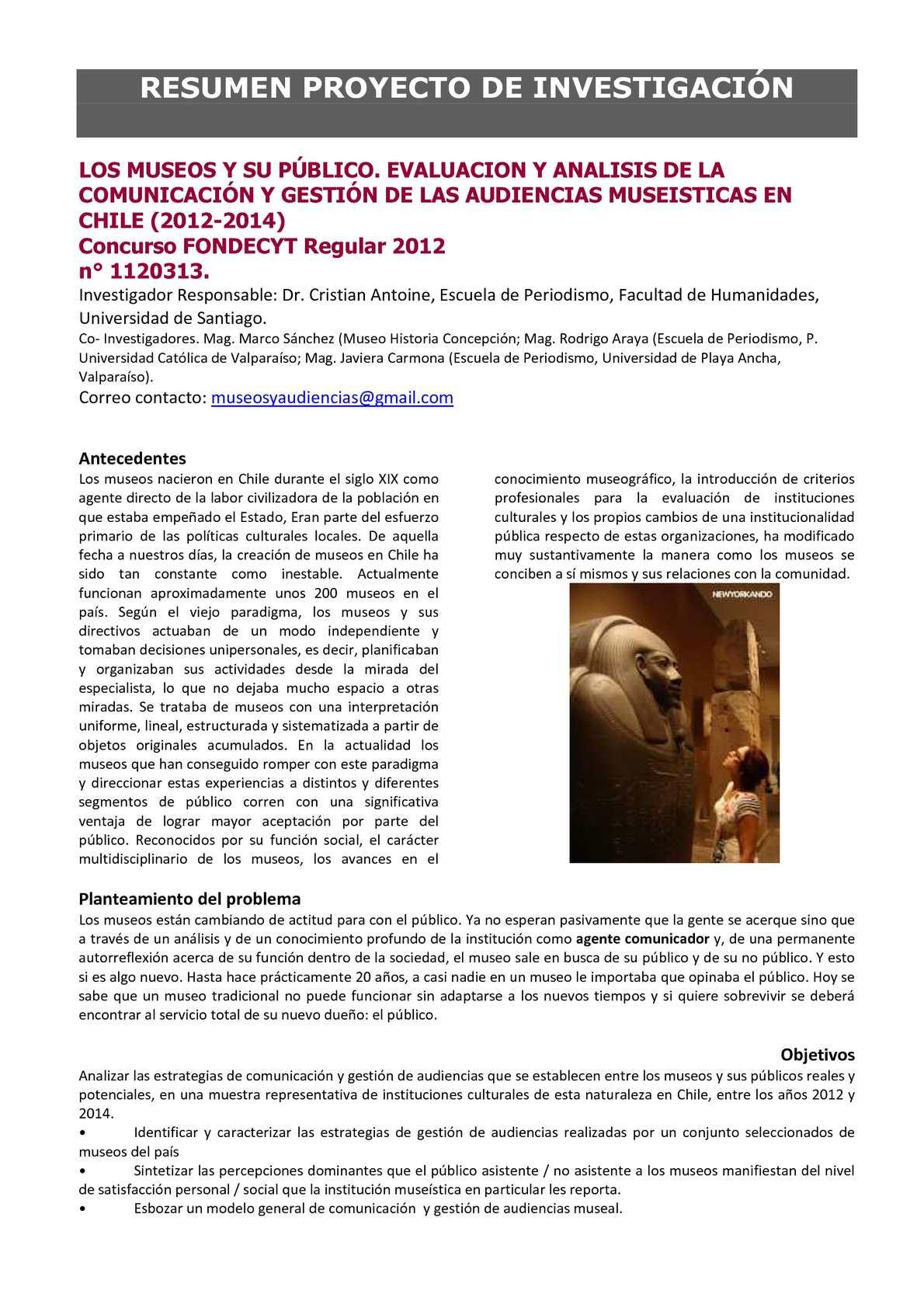 Calaméo - Resumen Proyecto Fondecyt Museos & Audiencias de Museos ...