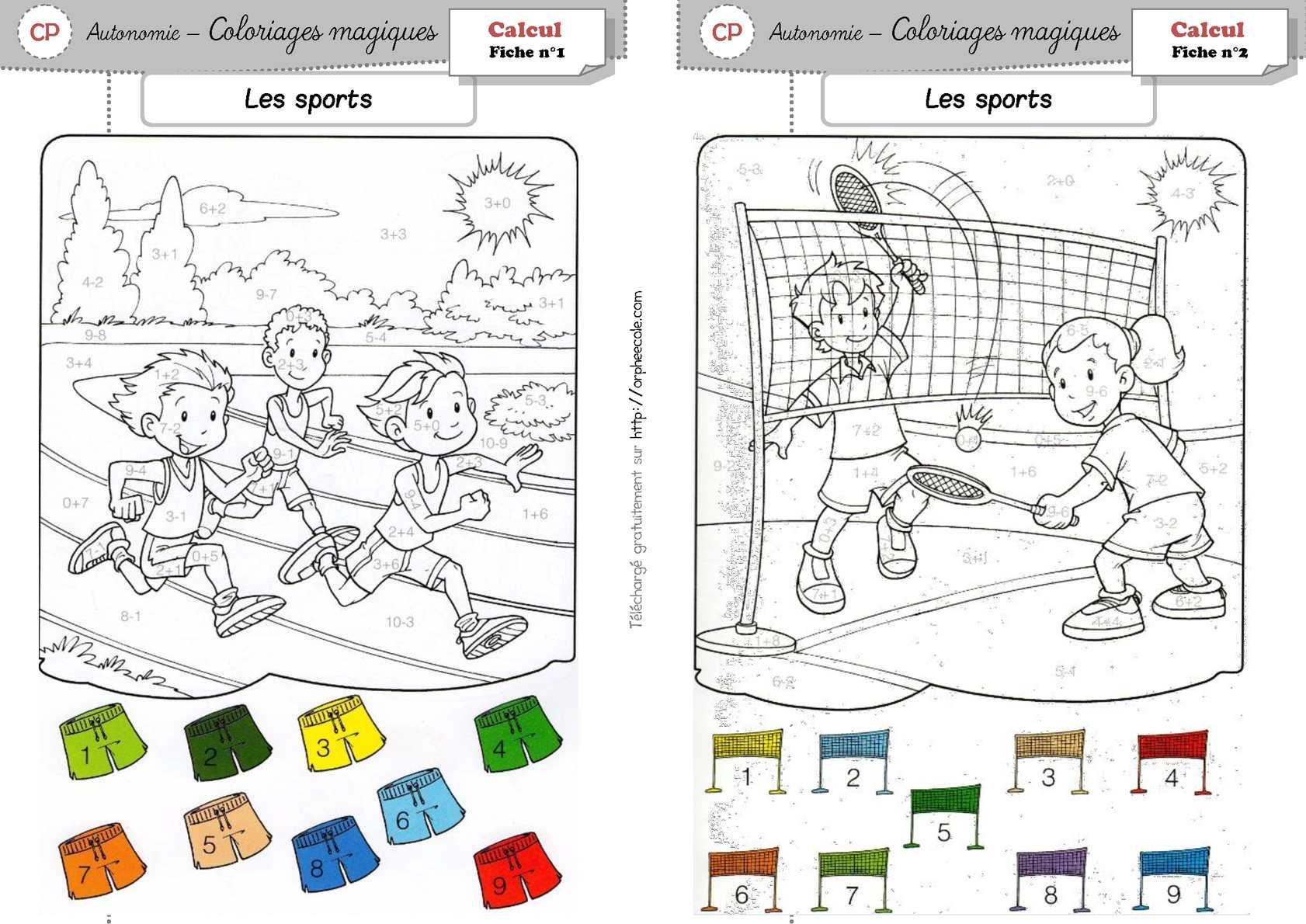 calamo coloriages magiques les sports - Coloriages Magiques