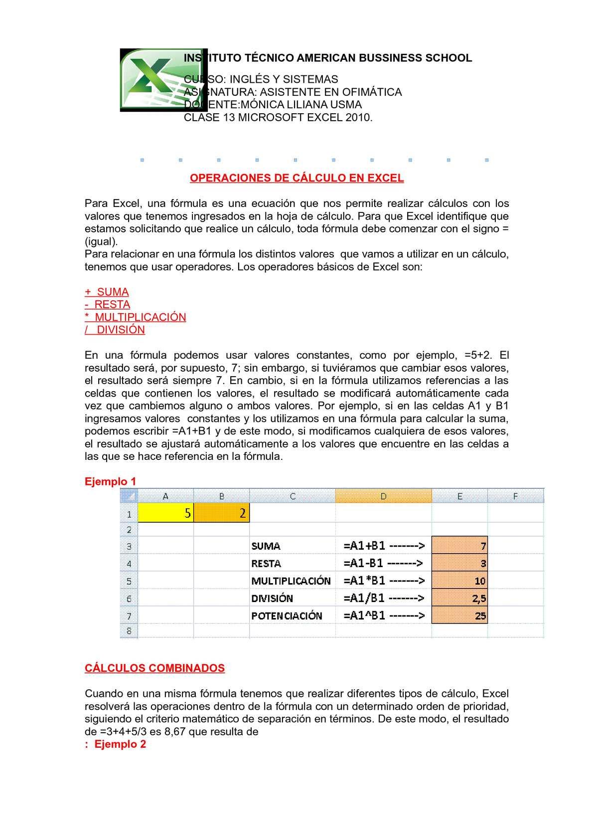 Calaméo - Operaciones de Calculo En Excel