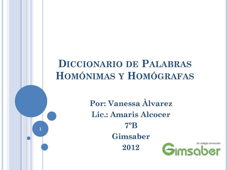 Calaméo - Diccionario de Palabras Homónimas y Homògrafas