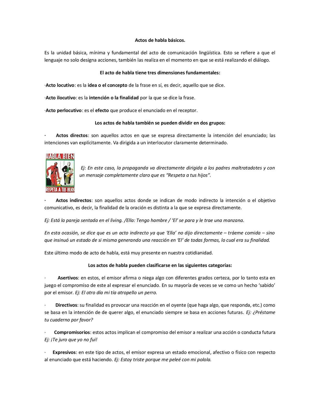 Guía de Materia y Actividades sobre los Actos del Habla
